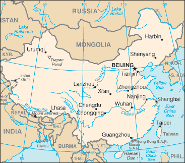 China Map With Major Cities.Largest Cities In China